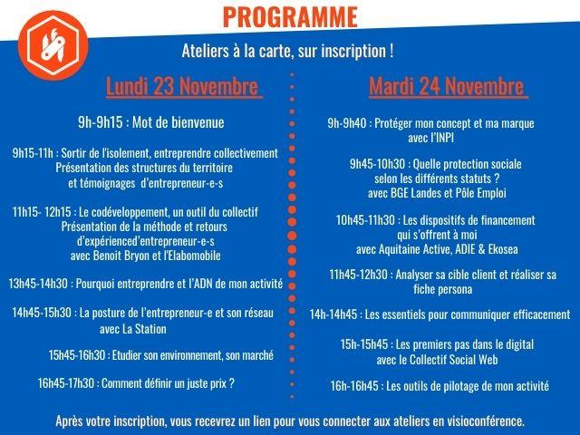 Programme de l'événement Couteau Suisse les 23 et 24 novembre 2020